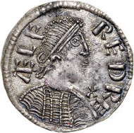 Kings of Wessex. Aelfred the Great (871-899) portrait 'Monogram' Penny ND, London mint, struck c.880. S-1061, North-644. Estimate: $10,000-$12,500.