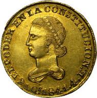 30047: Republic gold 4 Escudos 1841 MV-A, KM19. Estimate: $25,000-$30,000.