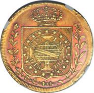 23072: Pedro I gold 6400 Reis 1822-R, KM361. Estimate: $200,000-$300,000.
