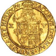 24086: James I (1603-25) gold Spur-Ryal ND, of 15 Shillings, S-2634. Estimate: $80,000-$100,000.
