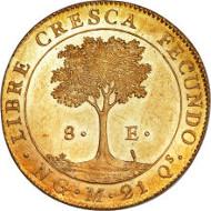24449: Central American Republic gold 8 Escudos 1824 NG-M, KM8. Estimate: $100,000-$150,000.