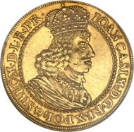 24809: Danzig. Johann Casimir gold 4 Ducat ND (1648-68), KM44. Estimate: $10,000-$15,000.