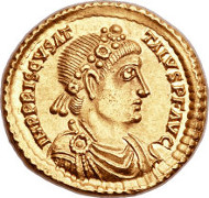 23987: Priscus Attalus, Western Roman Emperor, first reign (AD 409-410). AV solidus, Rome, First Coinage, September-December AD 409. RIC 1401 (R5). Estimate: $200,000-$240,000.