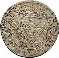 Nr. 8008: Stephan Bathory. Litauischer Groschen, 1580, Wilnius. Kopicki 3354 (R7). Hutten-Czapski 655var. Hübsche Tönung. Fast sehr schön. 180 / 9.200 Euro