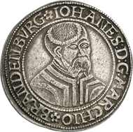 29: Brandenburg-Preußen. Johann von Küstrin, 1535-1571. Taler 1545, Krossen. Dav. 8956. Sehr selten. Sehr schön bis vorzüglich. Schätzung: 40.000 Euro.