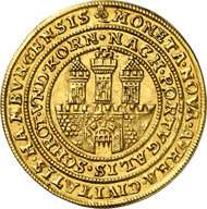 143: Hamburg. 1/2 Portugalöser zu 5 Dukaten o. J. (1668-1673), Münzmeister Matthias Freude. Äußerst selten. Vorzüglich. Schätzung: 60.000 Euro.
