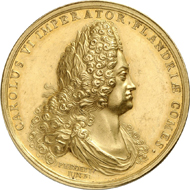 359: HRE. Charles VI, 1711-1740. Gold medallion of 27 ducats 1716 by P. Roettiers on the birth of Archduke Leopold, minted at the behest of Brügge. Kenis 3. Probably 2nd known specimen, only specimen on the market. Extremely fine to FDC. Estimate: 30,000 euros.