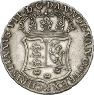 419: Denmark. Christian VII, 1766-1808. Piaster 1771 (minted in 1774), Copenhagen for the trade with China. Minted by the Danish Asiatic Company following the model of the South American 8 reales piece. Dav. 411. Extremely rare. Extremely fine to FDC. Estimate: 80,000 euros.