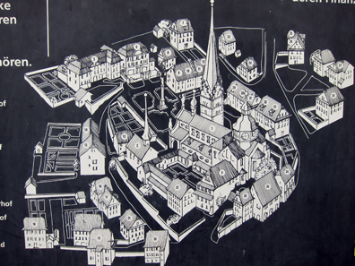 Site plan of Beromünster featuring the houses of many priests. Photo: KW.