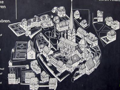 Lageplan von Beromünster mit den vielen Priesterhäusern. Foto: KW.