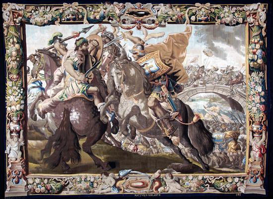 Constantine's victory over Maxentius at the Milvian Bridge. Marques de la ville de Bruxelles. Signature MATTHYS ROELANTS. © MAH. Photo: Manufacture royale De Wit, Malines. Inv. 18676.