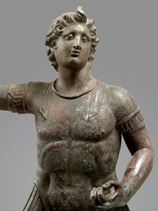 Equestrian statue of Alexander the Great. Hellenistic Period, 3rd and 2nd century. Bronze, H. 51.4cm. © Fondation Gandur pour l'Art, Geneva. Inv. ARCH-GR-049.