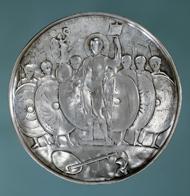 Votivplatte oder Missorium Valentinians II.?, 375-392. Silber, Durchmesser 27 cm; Gewicht 1050,8 g. © Musée d'art et d'histoire, Genf/Foto: Jean-Marc Yersin. Inv. ARC, C 1241.