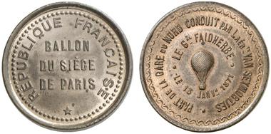 Diese Medaille wurde fast 100 Jahre später geprägt, als immer noch Ballone bei Belagerung eingesetzt wurden. Frankreich. Bronzemedaille 1871 auf die Belagerung von Paris. Aus Auktion Künker 233 (2013), 2289.