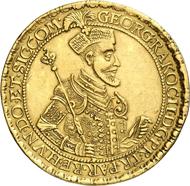 586: Ungarn. Georg Rakoczi I., 1630-1648. 10 Dukaten 1637, Klausenburg. Fb. 375. Äußerst selten. Vorzüglich. Schätzung: 40.000 Euro.