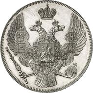 687: Russland. Nikolaus I., 1825-1855. 12 Rubel Platin 1837, St. Petersburg. Fb. 158. Nur 53 Exemplare geprägt. Aus Auktion Hirsch 22 (1959), 1060. PP, minimal berührt. Schätzung: 40.000 Euro.