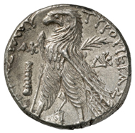 Tyre (Phoenicia). Tetradrachm, 106-105 B. C. Head of Melkart with laurel wreath r. Rev. eagle standing l. on prow, palm branch over the shoulder. © MoneyMuseum.