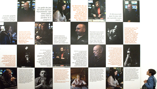 This poster shows 16 portraits (taken in the casino of Neuchâtel by Benjamin Visinand, a local artist and student of photography in Berlin) and 16 texts from literature.