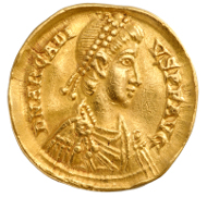 Unknown Artist. Solidus of Arkadios, 395-408. Numismatic Museum, Athens.