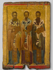 Processional icon of Three Hierarchs, first half of 14th century. Byzantine and Christian Museum, Athens.