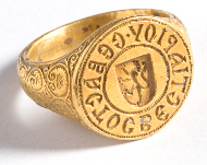 Signet ring of a Byzantine officer, 14th century gold. Museum of Mistra.