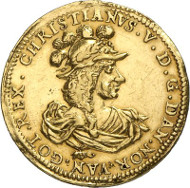 415: Denmark. Christian V, 1670-1699. 2 ducats 1688, Copenhagen. Friedberg 167. From auction sale Künker 244 (6th February 2014), 415 (about extremely fine; estimate: 15,000 euros).