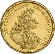 416: Denmark. Frederick IV, 1699-1730. 5 ducats 1704, Copenhagen. Friedberg 246. From auction sale Künker 244 (6th February 2014), 416 (extremely fine; estimate: 75,000 euros).
