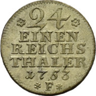 2318: Prussia. Provincial coin for the Mark Brandenburg. 1/24 thaler 1753 F, Magdeburg. Kluge 181.2. Old. 169. EF. Estimate: 25 euros.