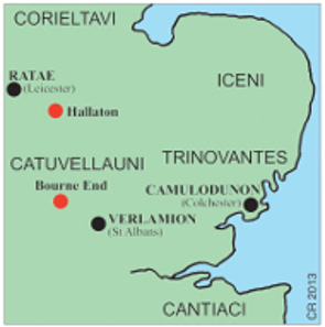 The first three CVNO/DVBN quarter staters all came from Hallaton, E. Leics., only 35 miles from Bourne End. Cunobelinus minted coins at Camulodunon, Essex. Source: Elizabeth Cottam & Chris Rudd.