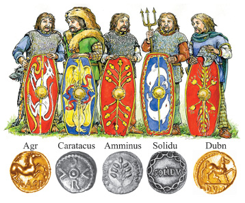 Of the five possible sons of Cunobelinus only Agr and Dubn seem to have struck gold coins, which may be indicative of their superior status. Source: Jane Bottomley & Chris Rudd.