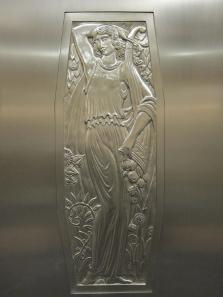 Elevator doors with decoration. Photo: UK.