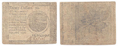 Lot 4-342. Continental Currency, $20, 1778. Estimate: $200.
