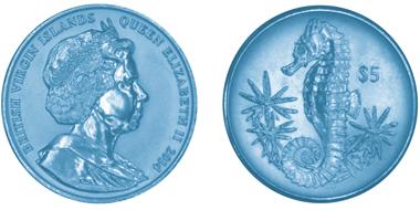 British Virgin Islands / 5 $ / .990 Turquoise Titanium / 10.00gms / 36.10mm / Mintage: 5,000.