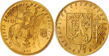 520: CZECHOSLOVAKIA. 10 Dukatu, 1938. PCGS MS-67 Secure Holder. Fr-4; KM-14. Starting price: $18,000. Sold for: $82,250.