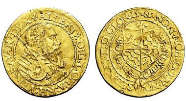 2674: BAYERN. Albrecht V. der Großmütige. 1550-1579, München. 2 Dukaten 1565. Taxe: 5.000 Euro.