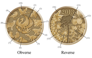 Red-brass medal featuring the commemorative coins issued in the Heisei Era. Japan/ Copper 84-86%, Zinc 16-14%/ 7.5g/ 27mm.