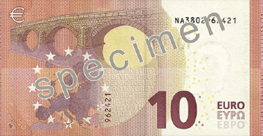 The new 10 euro banknote. © European Central Bank.