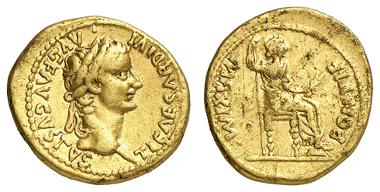 161: KAISERZEIT. Tiberius. Aureus, 18-35 u.Z., Lugdunum (Lyon). Ausruf: 2.200 Euro.