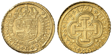 1555: SPANIEN. Philipp V. 8 Escudos, 1721, Sevilla. Ausruf: 3.600 Euro.
