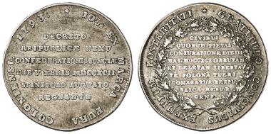 1549: POLEN. Stanislaus August, 1764-1795. Taler, Konföderationstaler, R5 (Kop.). Ausruf: 2.200 Euro.