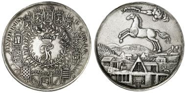 451: BRAUNSCHWEIG-LÜNEBURG-CELLE. Johann Friedrich. Schaumünze zu 5 Reichstalern, 1677, Clausthal. Prachtexemplar mit feiner Patina. Ausruf: 5.000 Euro.