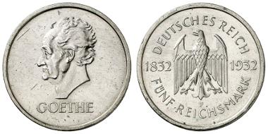 1306 : DEUTSCHLAND (Weimarer Republik). 5 RM, 1932, F, Goethe, min. Rf., nur 2.006 Ex. Ausruf: 1.900.