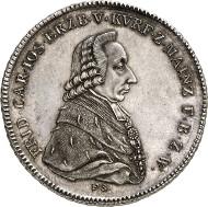 Nr. 3249: ALTDEUTSCHLAND. Mainz. Friedrich Karl Josef von Erthal, 1774-1802. Konventionstaler 1795, Mainz. Äußerst selten. Stempelglanz. Taxe: 15.000 Euro.
