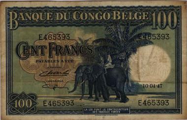 Belgisch Kongo. 100 Francs, 1946/47. Elefanten mit Reitern. © HVB Stiftung Geldscheinsammlung, München.