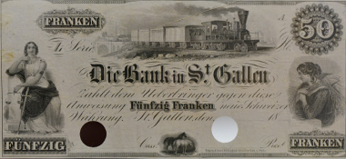 Switzerland. 50 Francs, circa 1852. Steam locomotive with coupled wagons, viaduct in background. © HVB Stiftung Geldscheinsammlung, München.