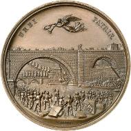 Friedrich Aberli (1800-1872), Medaille auf die Errichtung der Nydeggbrücke in Bern (1840-1844), 1846. Bronze. Vorderseite: Nydeggbrücke mit Handwerkern im Vordergrund. - Inv.Nr. Md 1340. Münzkabinett der Stadt Winterthur, Fotos: Lübke & Wiedemann, Stuttgart.