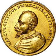 30010: Salzburg. Markus Sittikus Graf von Hohenems gold 14 Ducats 1612, KM-unlisted, Fr-700 (listed only as Rare). Sold for $211,500.