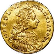 30237: Peter II gold Ducat 1729, Red mint, Bitkin 7 (no hair ribbon, 5 scallops) (R2), Diakov 6, IT 6 (50 Rub), Petr 1 (R-50), AU50 NGC. Sold for $205,625.