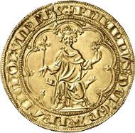 Nr. 70: FRANKREICH. Philippe IV. der Schöne, 1285-1314. Masse d'or o. J. (1296). Friedberg 254. Sehr selten. Schrötlingsriss, fast vorzüglich. Taxe: 10.000 Euro.