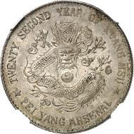 Nr. 3164: CHINA. Provinz Pei-Yang. 1 Dollar Jahr 22 (1896). NGC bewertet MS 62. Dav. 186. Sehr selten. Vorzüglich bis Stempelglanz. Taxe: 15.000 Euro.